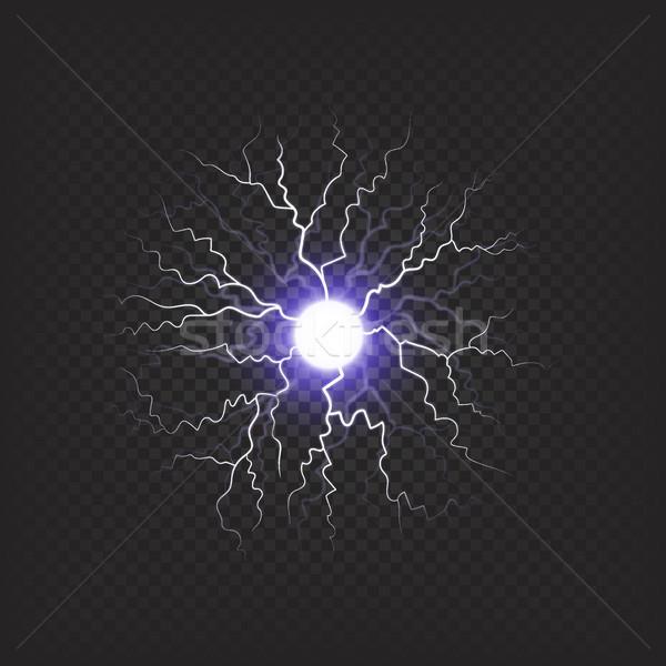 Brilhante violeta fireball isolado ilustração cor Foto stock © robuart