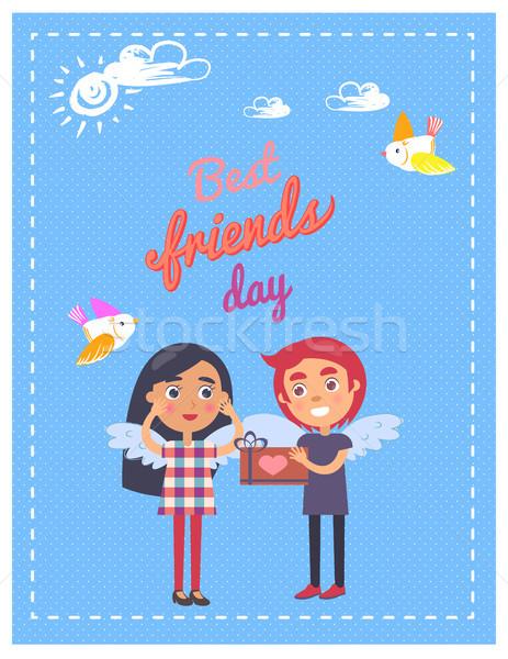 Znajomych dzień karty chłopca obecnej dziewczyna Zdjęcia stock © robuart