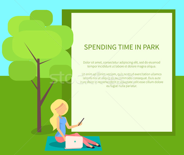 Spending Time in Park Conceptual Banner with Woman Stock photo © robuart