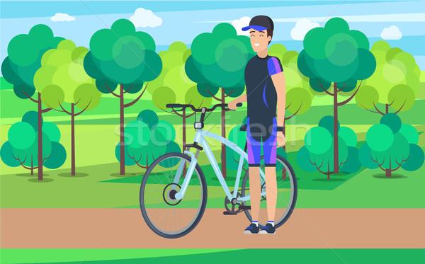 örömteli atléta útvonal bicikli illusztráció visel Stock fotó © robuart