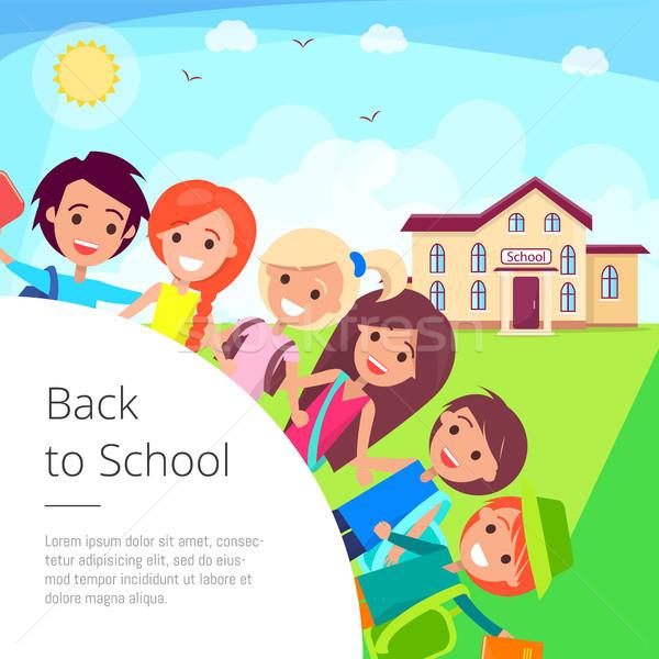 Back to School Cartoon Illustration with Kids Stock photo © robuart