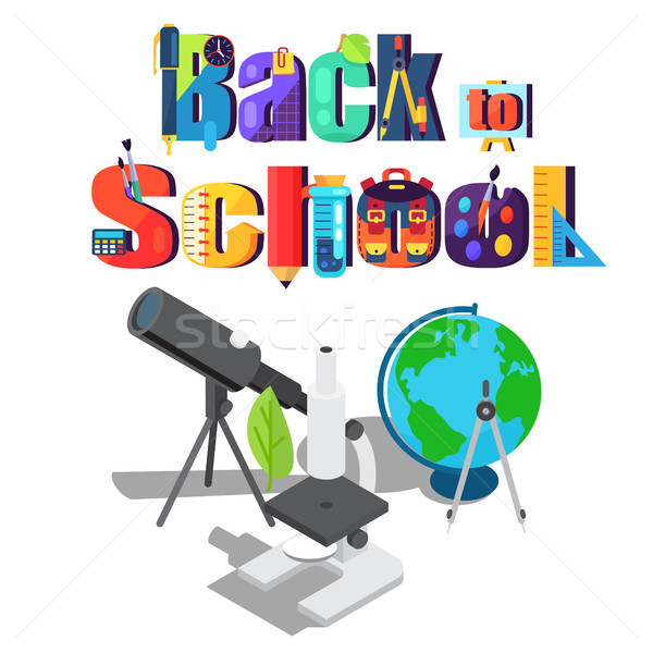Back to School Sticker with Scientific Objects Stock photo © robuart