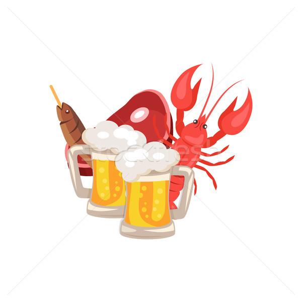 Cerveja lanches branco conjunto dois peixe Foto stock © robuart
