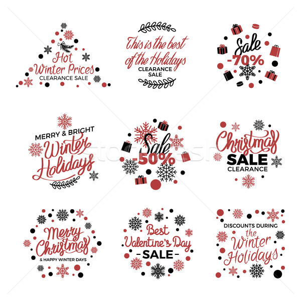 Winter Holiday Sale Labels Vector Poster on White Stock photo © robuart