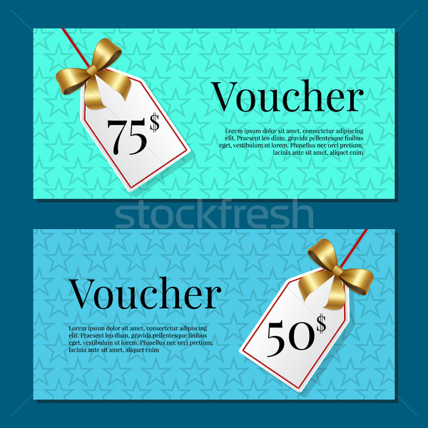 Gutschein 50 Set Plakate Gold Tags Stock foto © robuart