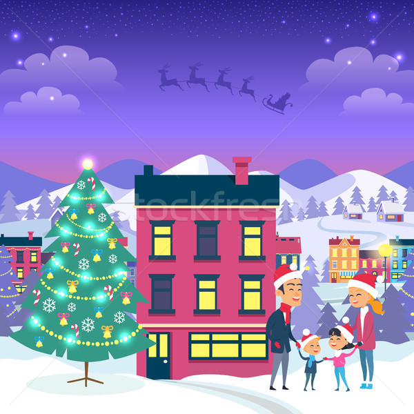 Happy Family and Fir Tree on Night City Background Stock photo © robuart