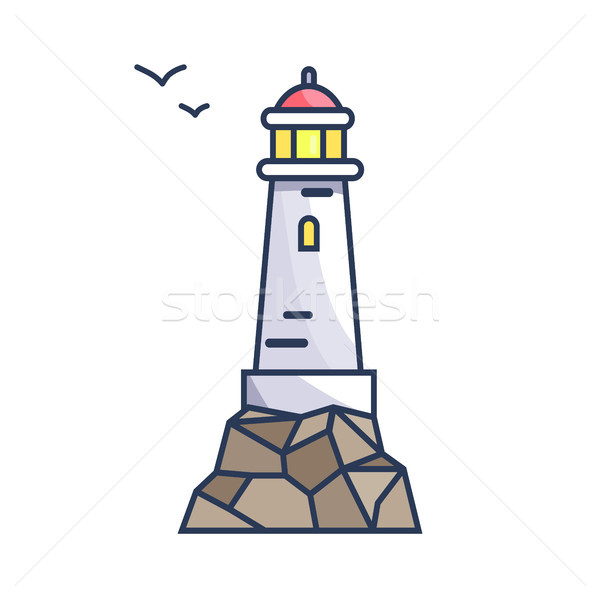 Tall Beacon with Light on Rock and Small Birds Stock photo © robuart