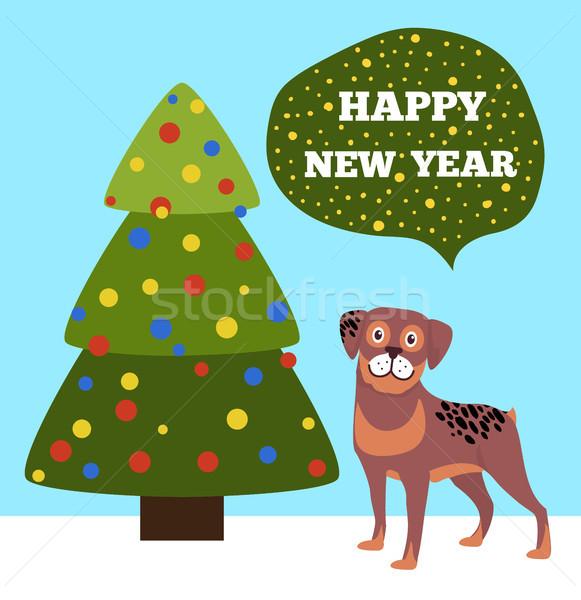 Boldog új évek plakát fa kutyakölyök Stock fotó © robuart
