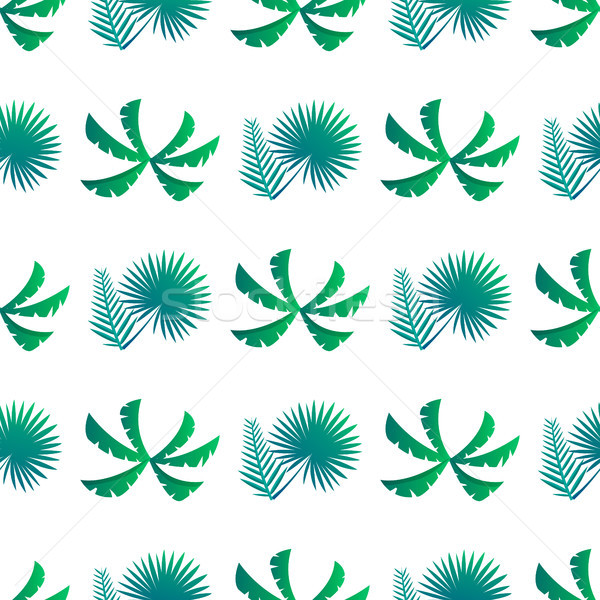 Palm Leaves and Bushes Pattern Vector Stock photo © robuart