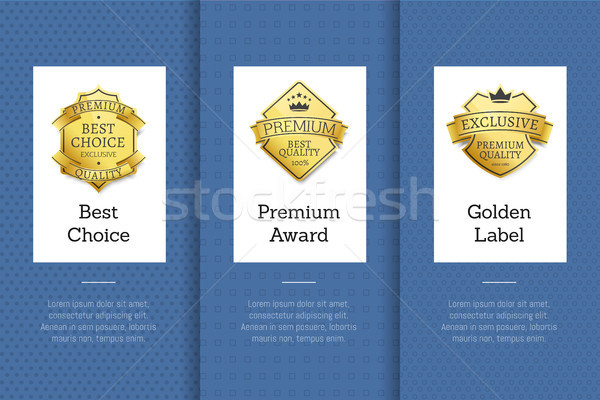 Best Choice Premium Award Golden Label Good Set Stock photo © robuart