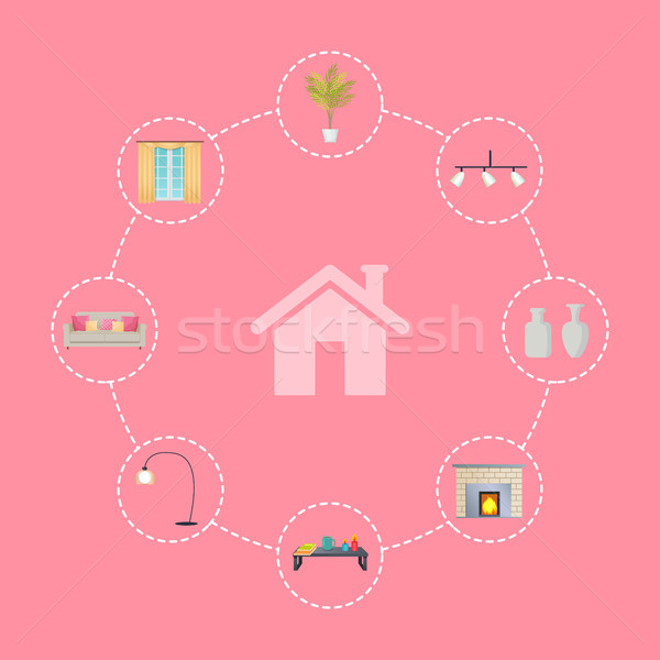 Interior House and Icons Set Vector Illustration Stock photo © robuart