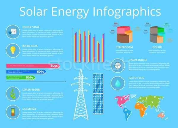 Zonne-energie poster tekst informatie Stockfoto © robuart