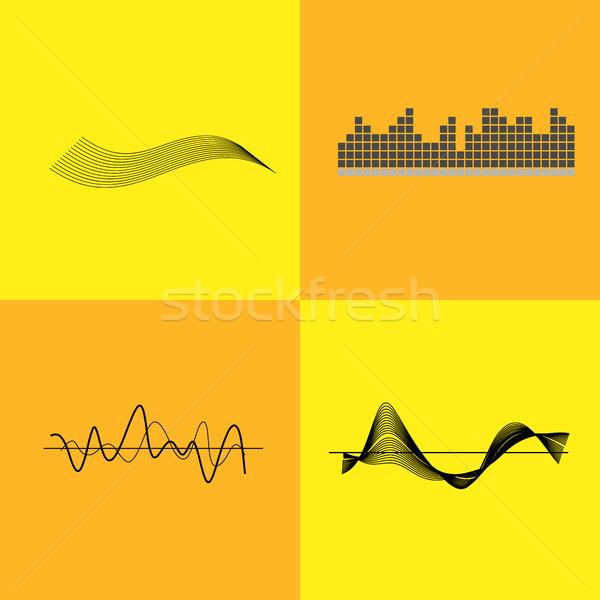 Hangszínszabályozó interfész grafikon vonalak hullámok ikonok Stock fotó © robuart