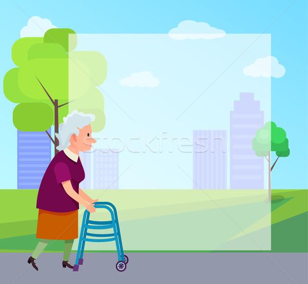 Senior Woman with Walking Frame Illustration Stock photo © robuart
