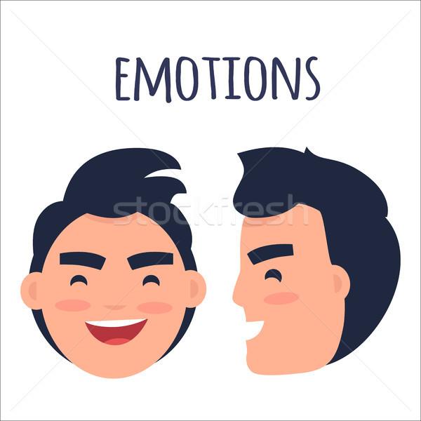 Erkekler pozitif duygular vektör esmer erkek Stok fotoğraf © robuart