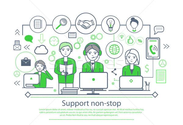 Támogatás plakát szöveg minta emberek dolgoznak laptopok Stock fotó © robuart