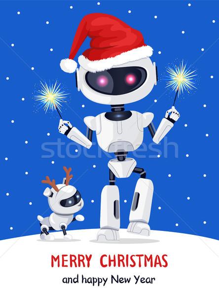 Vrolijk christmas robot sterretje gelukkig nieuwjaar Stockfoto © robuart