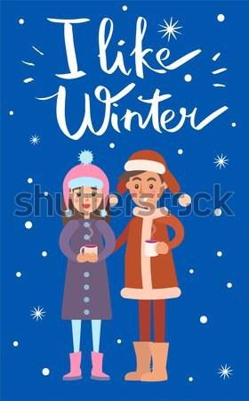 Zoals winter sneeuwvlokken poster jongen meisje Stockfoto © robuart