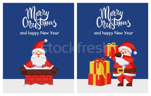 Vidám karácsony boldog új évet plakátok mikulás kémény Stock fotó © robuart