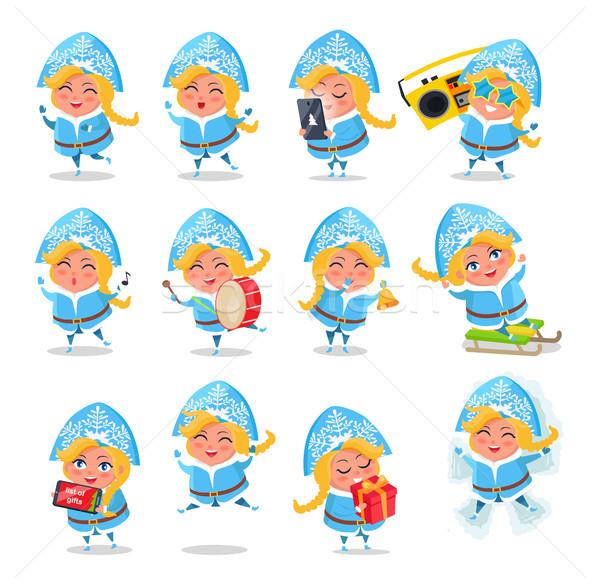 Snow Maiden Icons Collection Vector Illustration Stock photo © robuart