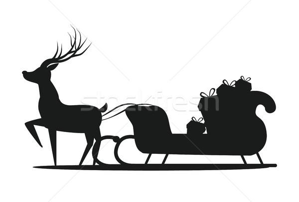 Mikulás szánkó sziluett ikon izolált fehér Stock fotó © robuart