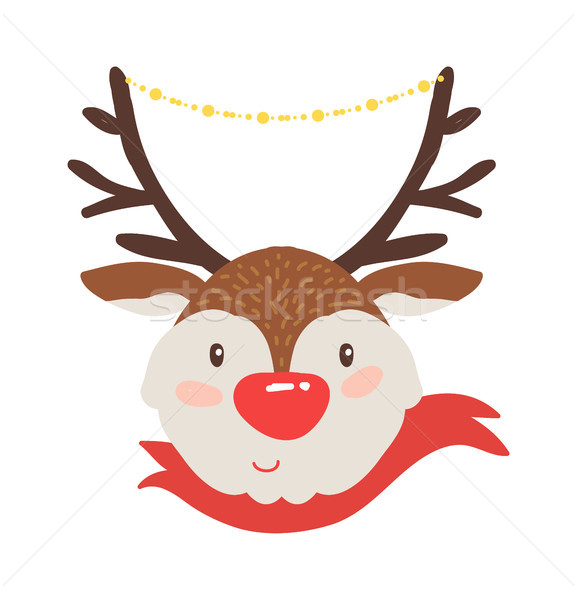 Rudolf Deer in Red Scarf Vector Illustration Icon Stock photo © robuart