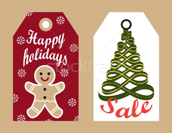 Boldog ünnepek vásár címkék akasztás promo Stock fotó © robuart
