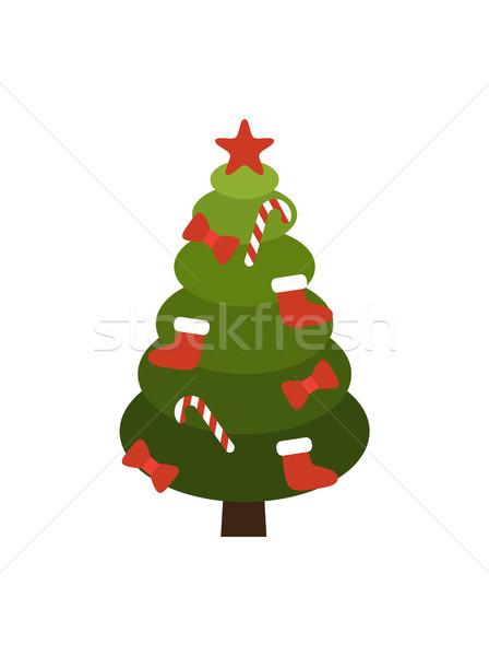 Christmas Tree Made of Circles Vector Illustration Stock photo © robuart