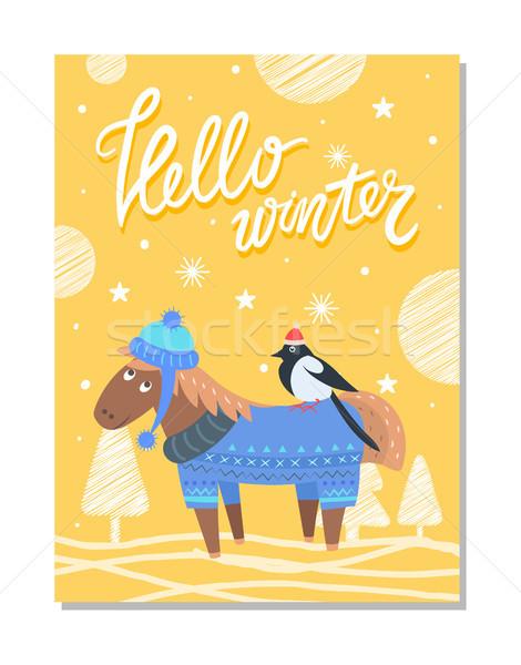 Boldog ünnep üdvözlőlap szamár ló madár Stock fotó © robuart