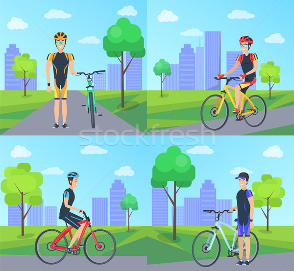 Kerékpáros bicikli város szett plakátok férfi Stock fotó © robuart