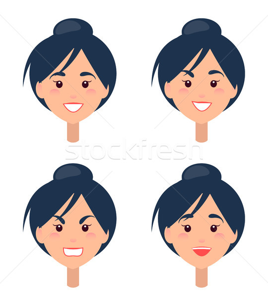Emotions on Womans Face Isolated Illustrations Stock photo © robuart