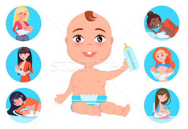 Baby with Bottle and Mothers Set Vector Illustration Stock photo © robuart