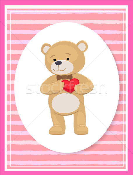 Teddy Gently Holds his Heart on Chest, Lovely Bear Stock photo © robuart