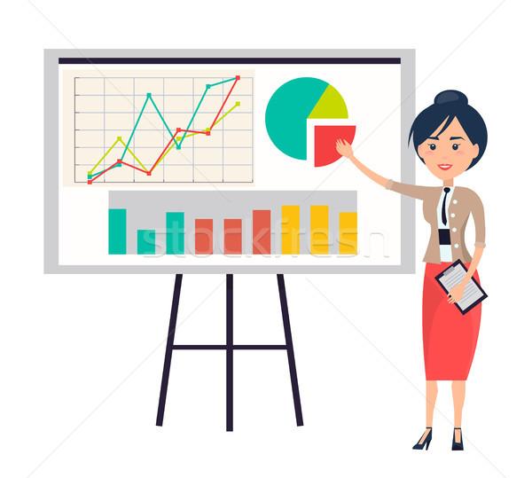 Donna d'affari presentazione lavagna a fogli mobili punta diagramma Foto d'archivio © robuart