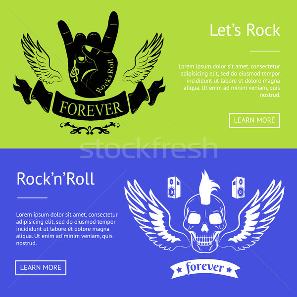 Let s Rock n Roll Collection of Colorful Banners Stock photo © robuart