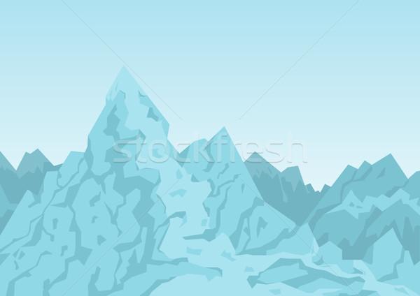 Hegyek kék színes kép tiszta égbolt felhők díszlet Stock fotó © robuart