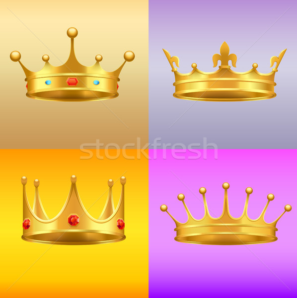 Golden Crown with Gems 3d Icon Realistic Vectors Stock photo © robuart