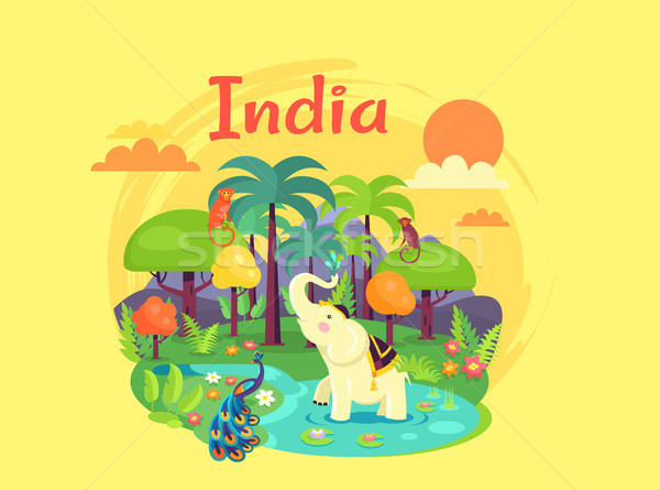 Indian Nature Poster Devoted to Independence Day Stock photo © robuart