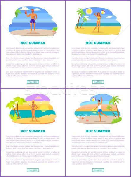 Hot zomer exotisch strand posters Stockfoto © robuart