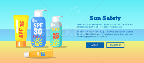 Sun Safety Banner Depicting Sunscreen lotions Stock photo © robuart