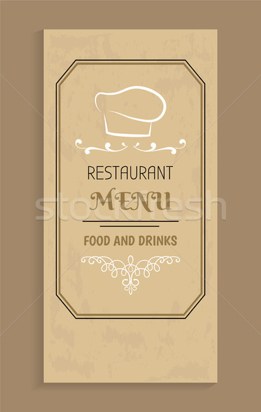 Restaurant Menu Food and Drinks Design, Chef Hat Stock photo © robuart