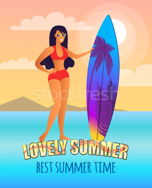 Lovely Summer Promo Poster with Girl and Surfboard Stock photo © robuart