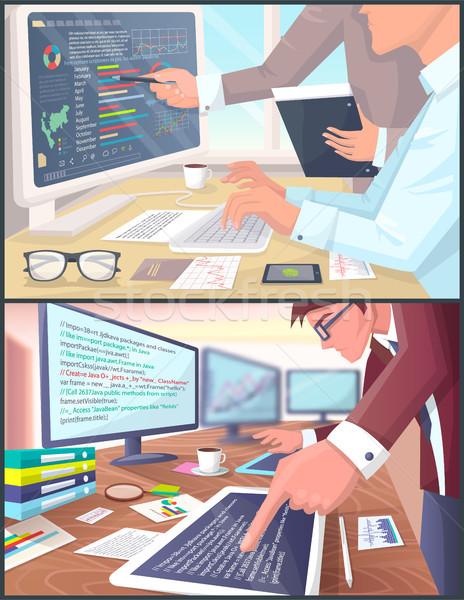Photo stock: Affaires · analytics · programmation · processus · bannière · profession