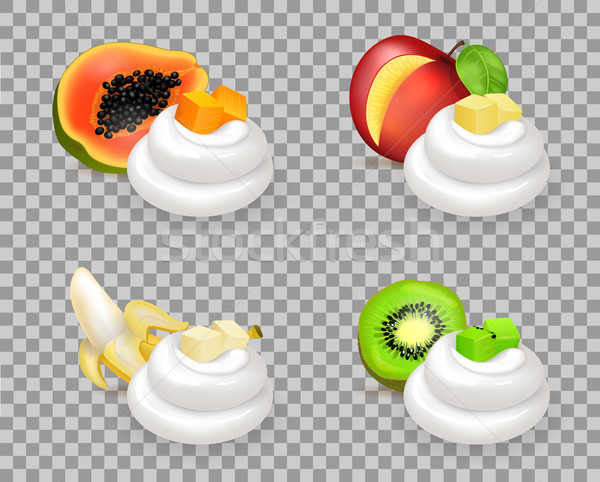 Sweet Ripe Fruits and Delicious Whipped Cream Set Stock photo © robuart