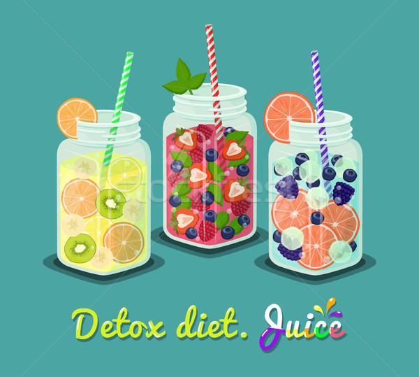 Detox Diet Juice Set of Mugs Vector Ilustration Stock photo © robuart