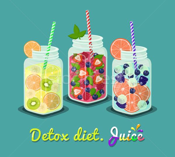 Detoxikáló diéta dzsúz szett vektor frissítő Stock fotó © robuart
