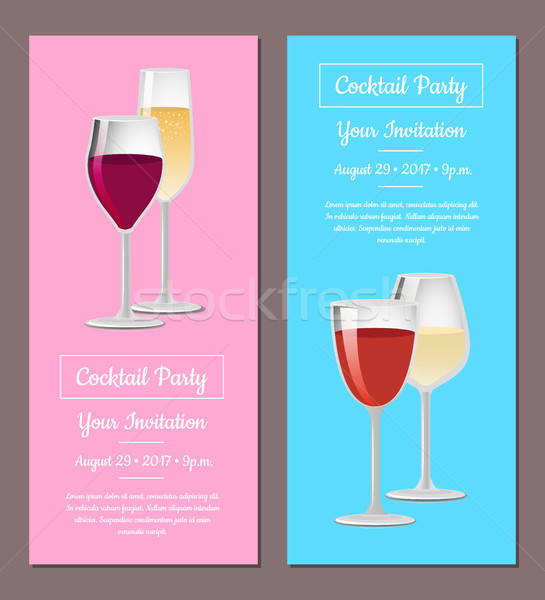 Cocktail party uitnodiging posters ingesteld wijn champagne Stockfoto © robuart