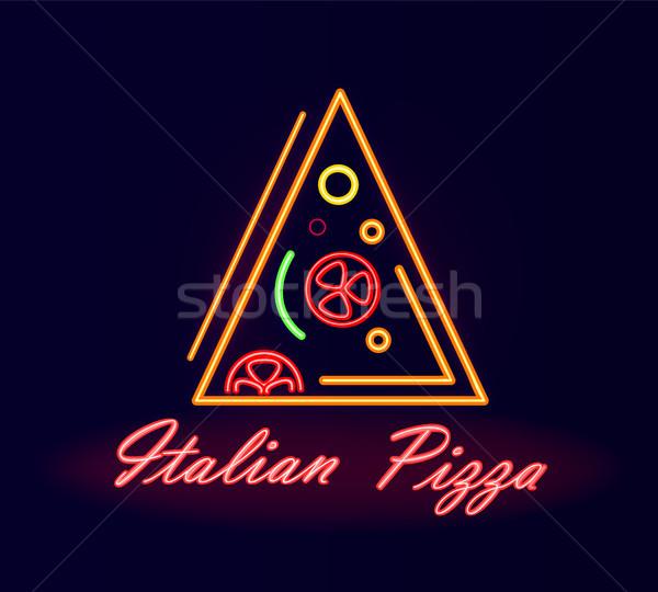 Italian Pizza Restaurant Neon Street Signboard Stock photo © robuart