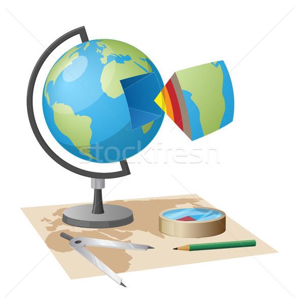 Felszerlés földrajzi illusztráció földgömb modell különálló Stock fotó © robuart