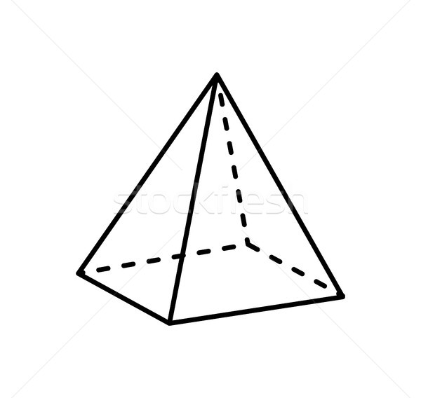 Square Pyramid Projection Straight and Dashed Line Stock photo © robuart